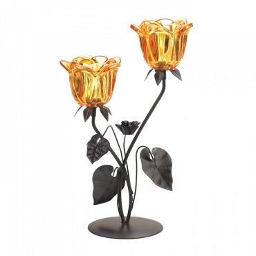 Double Amber Floral Candleholder