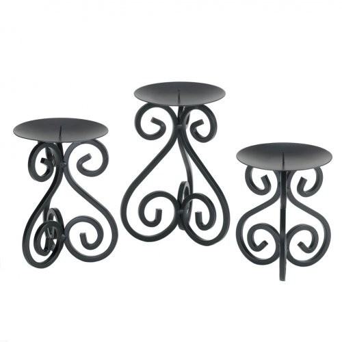 Black Iron Candleholders Set